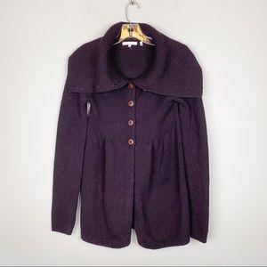 Vince Wool High Collar Sweater Cardigan Purple